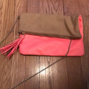 H&M Tan and hot pink crossbody or clutch